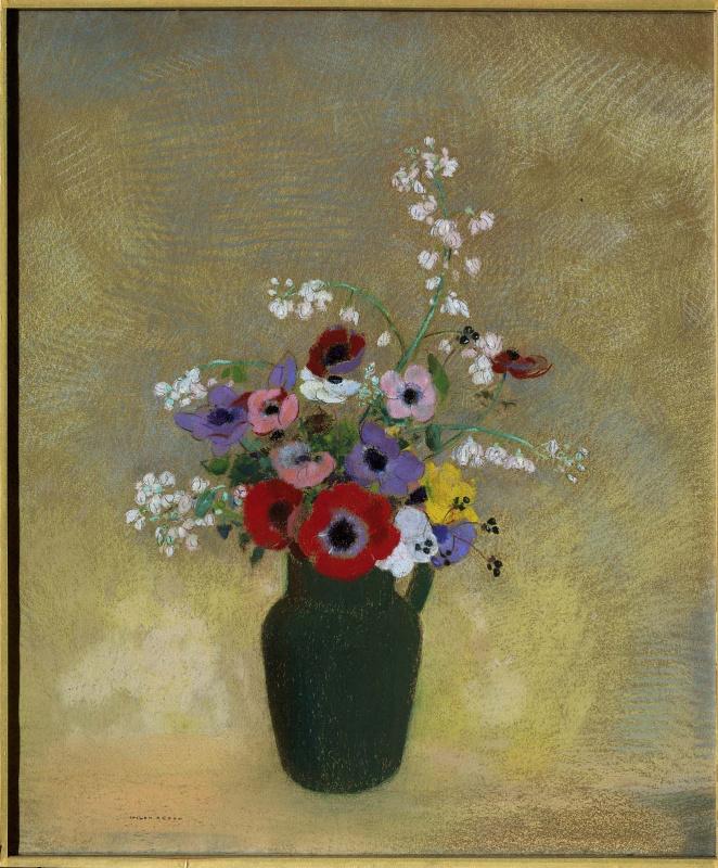 Большая зеленая ваза с смешанными цветами