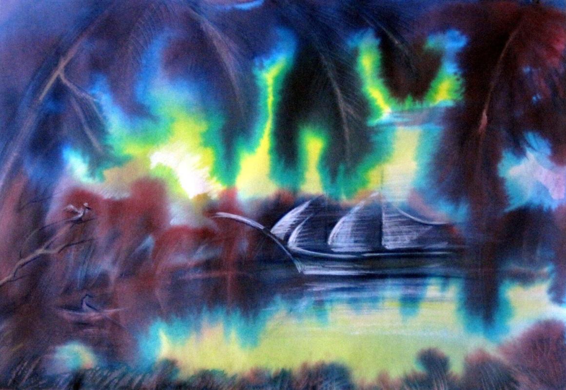 "Svetlana Ivanovna Kataeva. ""SAILS OF DREAM"", paper., Watercolor 42x62"