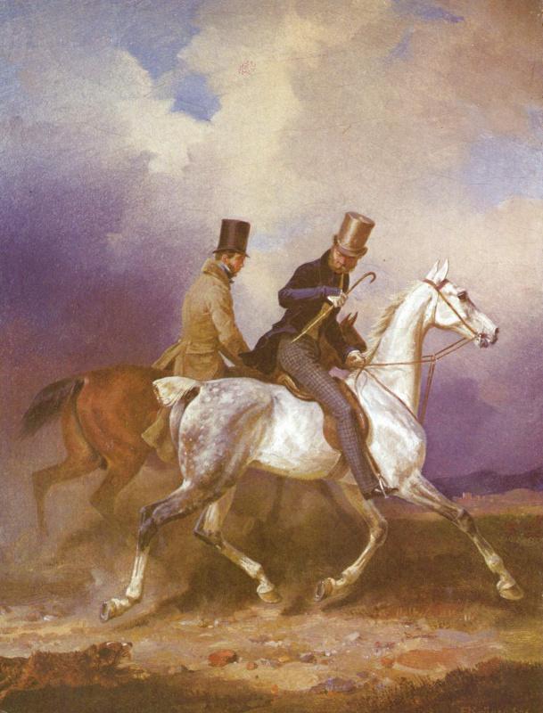 Франц Крюгер. Принц Вильгельм Прусский на прогулке в сопровождении художника