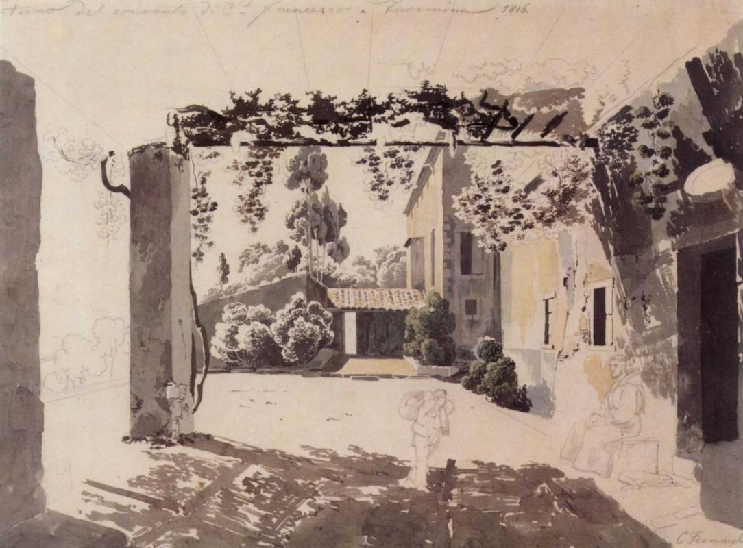Карл Людвиг Фроммель. В монастыре святого Франциска в Таормине