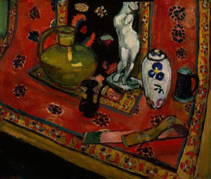 Henri Matisse. Figurine and vases on Oriental carpet