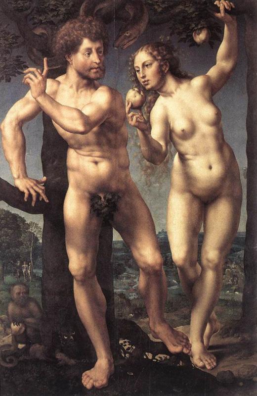 Ян Госсарт. Адам и Ева в саду