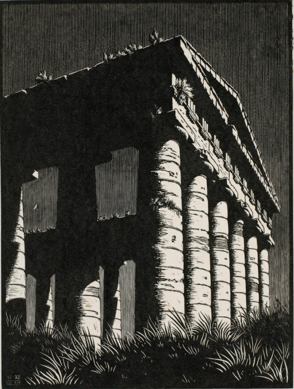 Maurits Cornelis Escher. Temple of Segeste, Sicily