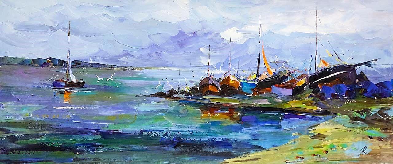 "Jose Rodriguez. ""Fishing Boats on the Shore"""