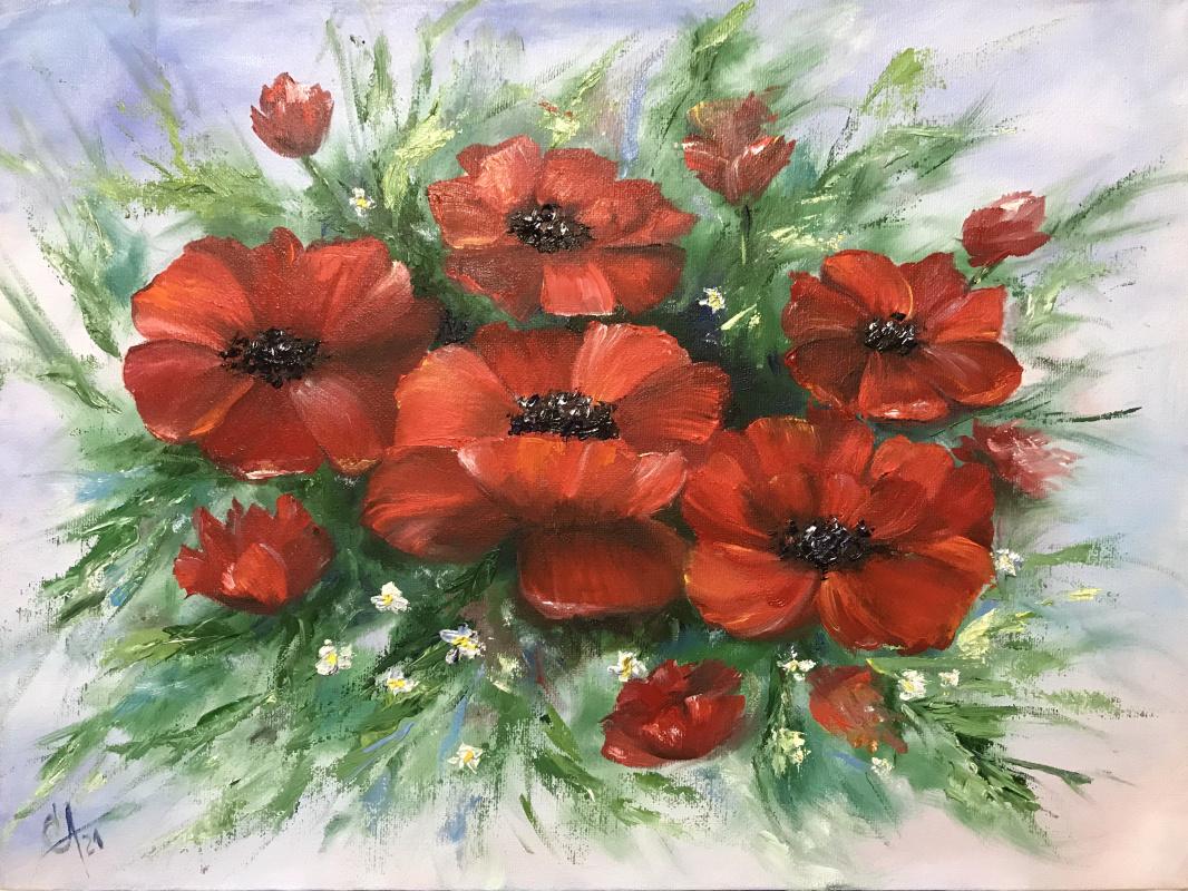 Svetlana Ivanova. Bouquet of scarlet poppies