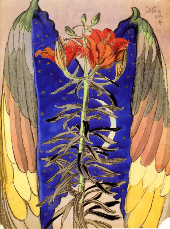 Эскиз декоративного панно. Лилия