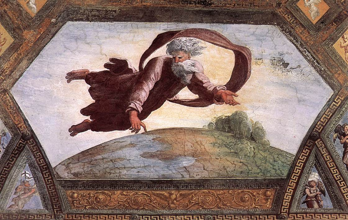 Рафаэль Санти. Отделение суши от воды. Фреска лоджии Рафаэля дворца понтифика в Ватикане