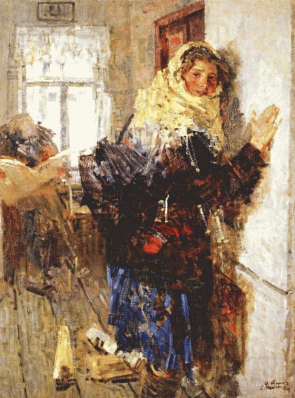 Девушка почтальен зимой рано