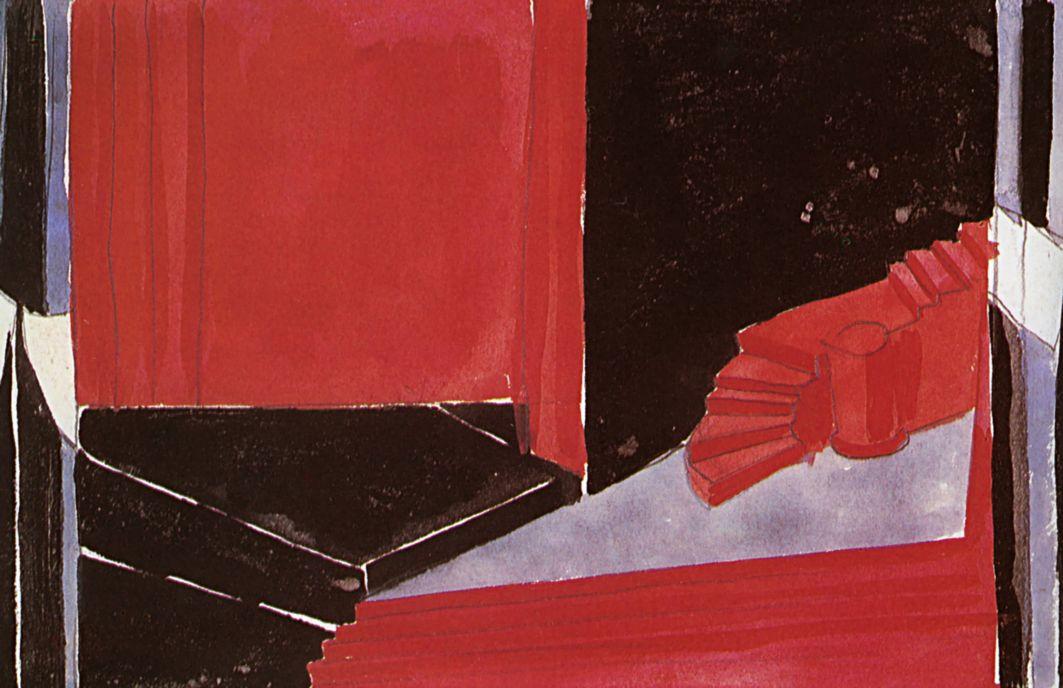 """Александра Александровна Экстер. Сцена смерти молодого сирийца. Эскиз декорации к трагедии О. Уайльда """"Саломея"""". Московский Камерный театр"""