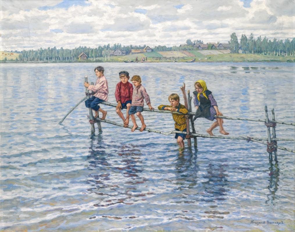 Николай Петрович Богданов-Бельский. Дети на озере в Летгалии