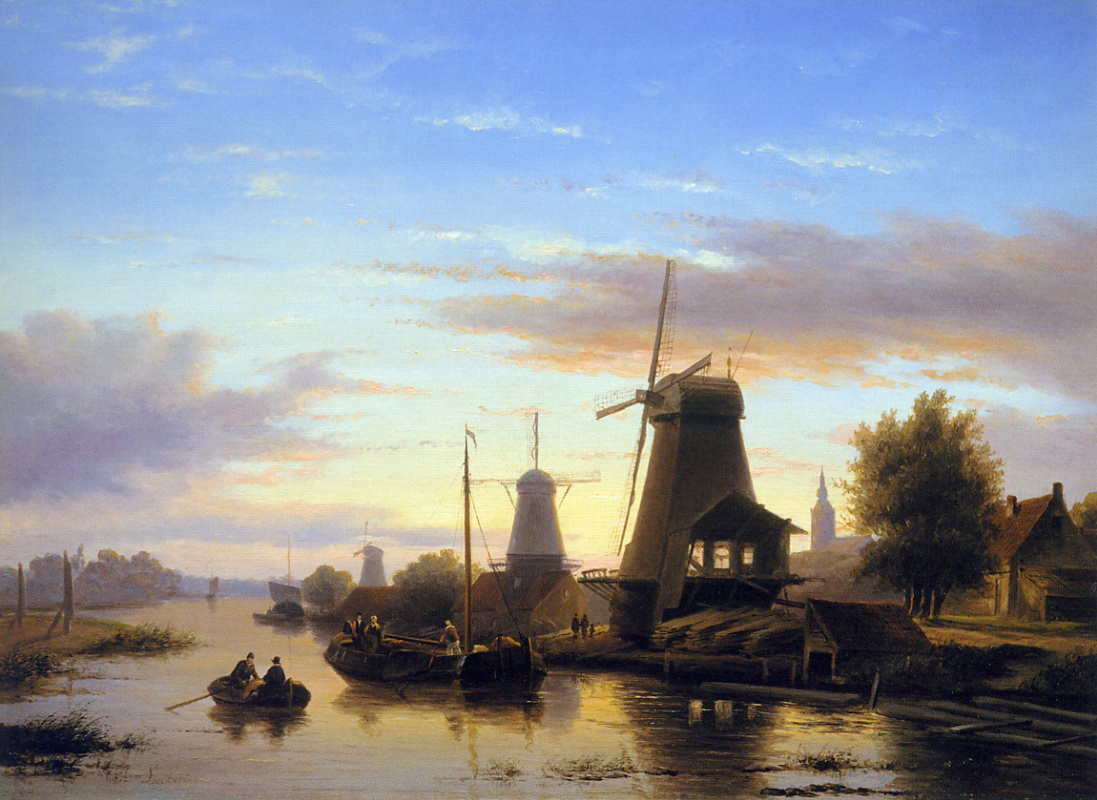 Charles Henry Joseph Lackert. Mill shy at dusk