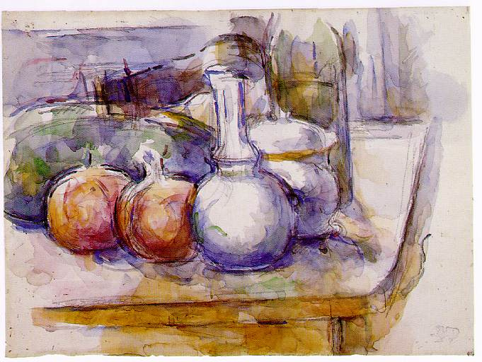 Paul Cezanne. Still life with carafe, sugar bowl, bottle, pomegranates and watermelon