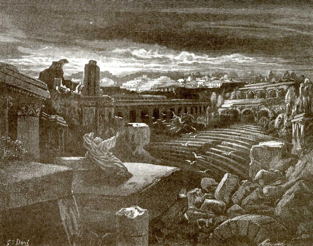 Paul Gustave Dore. Illustration to the Bible: the vision of the prophet Isaiah about the destruction of Babylon