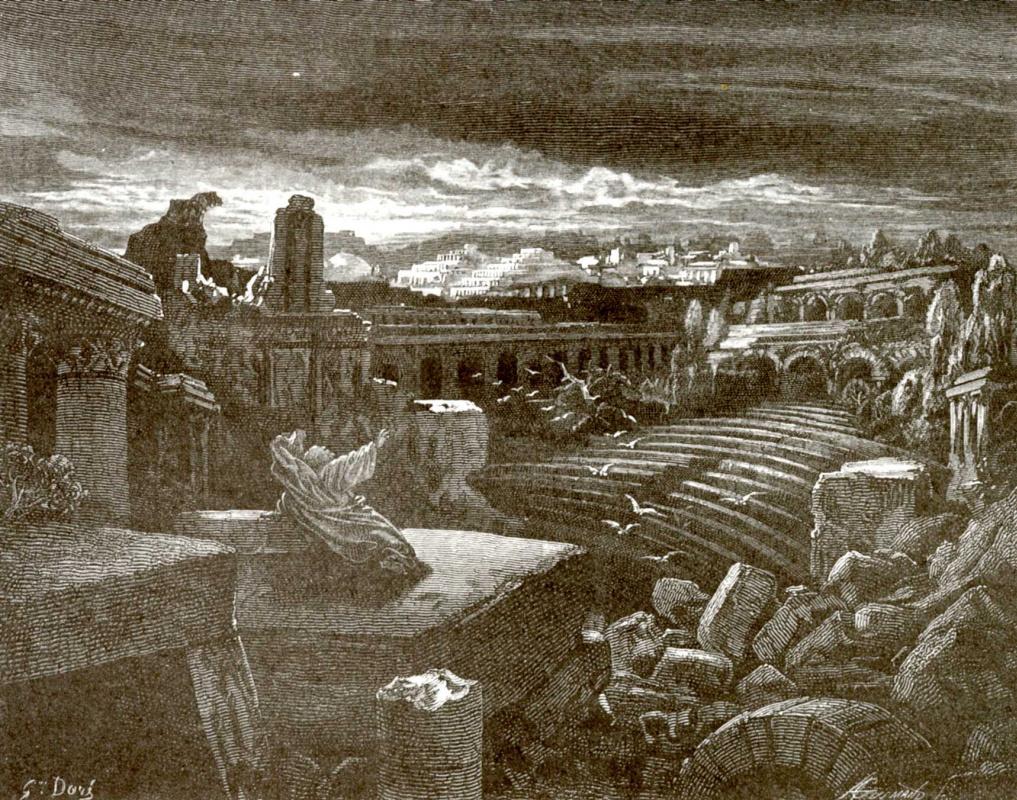 Поль Гюстав Доре. Иллюстрация к Библии: видение пророка Исаии о разрушении Вавилона
