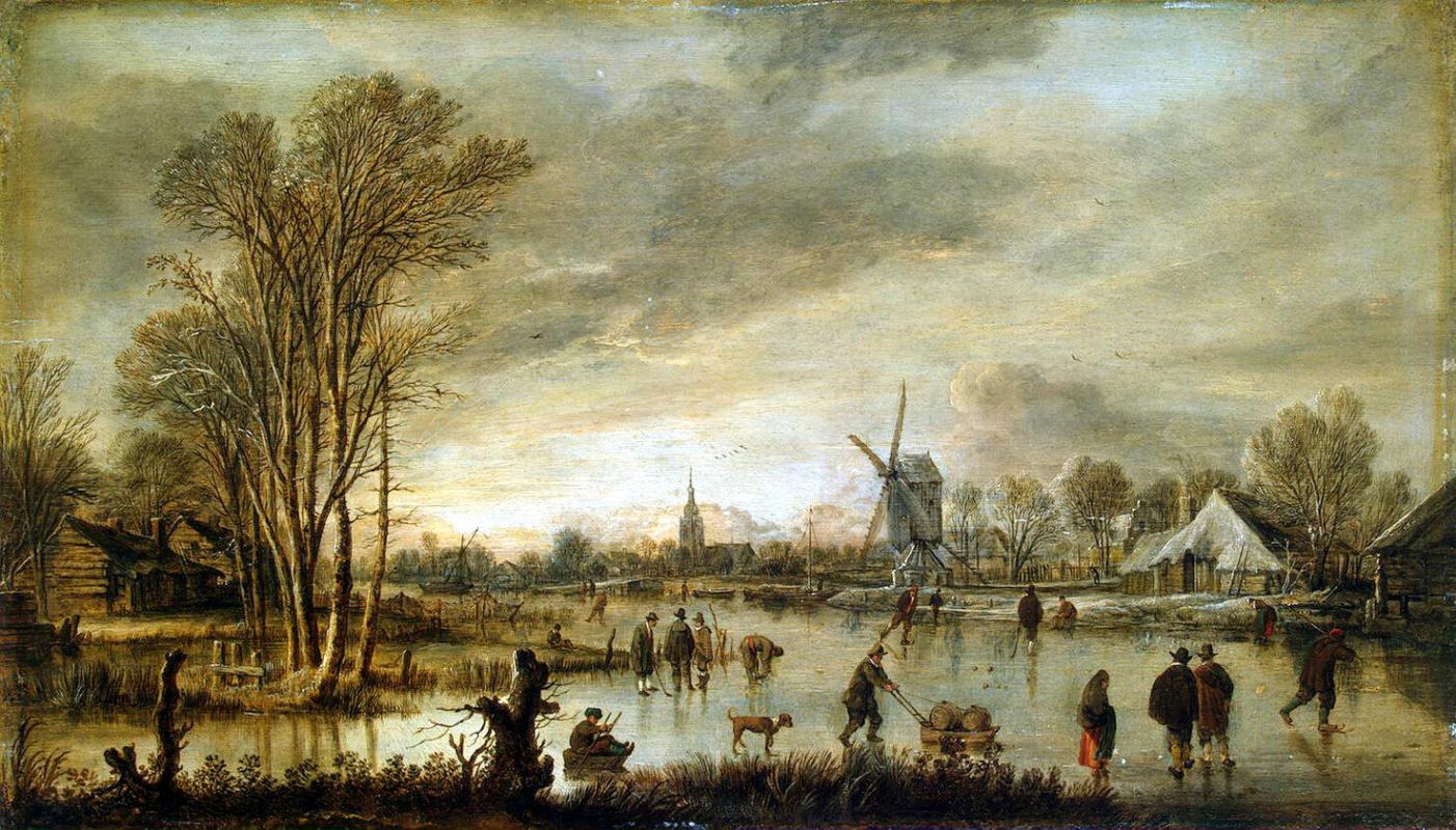 Art van der Ner. Winter view on the river