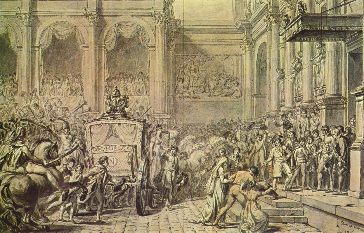 Jacques-Louis David. The arrival of Napoleon in the town hall. Sketch