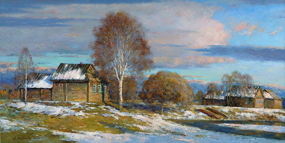 Alexander Victorovich Shevelyov. Evening in Korshunovo. Oil on canvas 50 # 99 see 2007