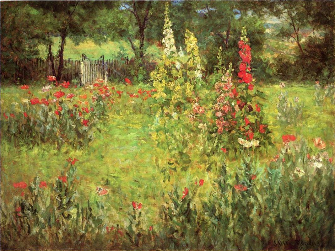 John Ottis Adams. Hollyhocks and poppies