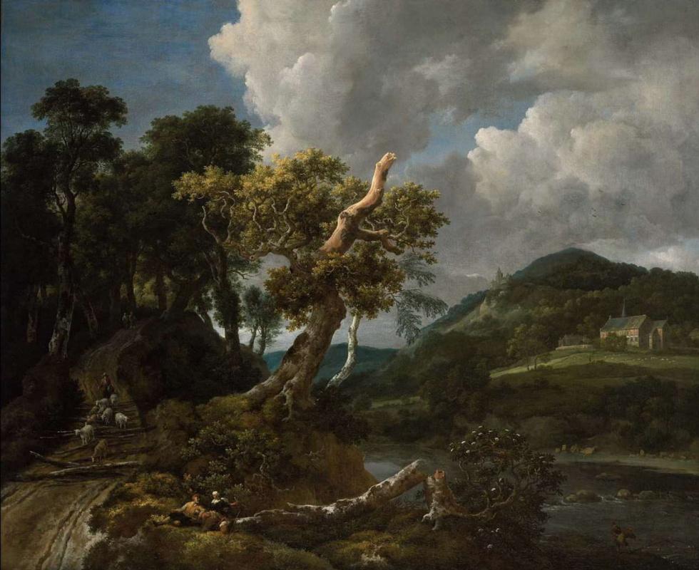 Jakob van Isaacs Ruisdael. Wooded River Landscape with Shepherd