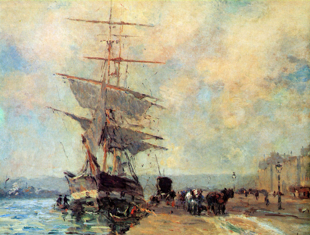 Альберт-Чарльз Лебоург. Корабль в гавани Руана