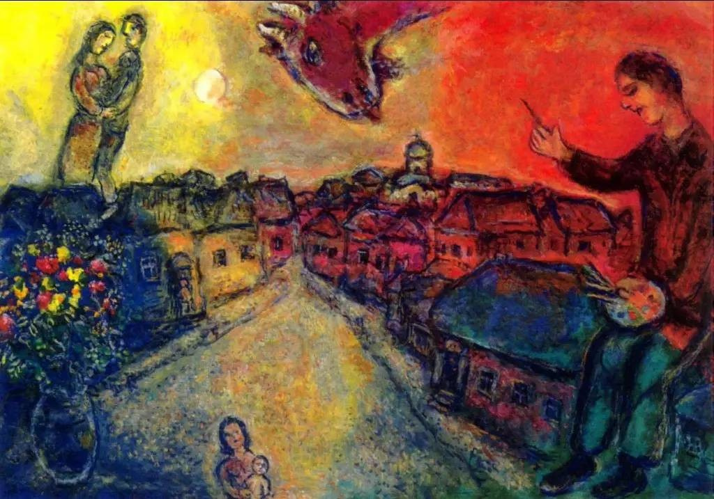Marc Chagall. The artist over Vitebsk