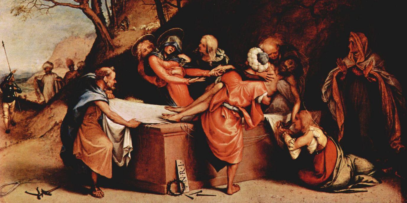 Лоренцо Лотто. Алтарный полиптих Сан Бартоломео в Берагмо, пределла: Положение во гроб