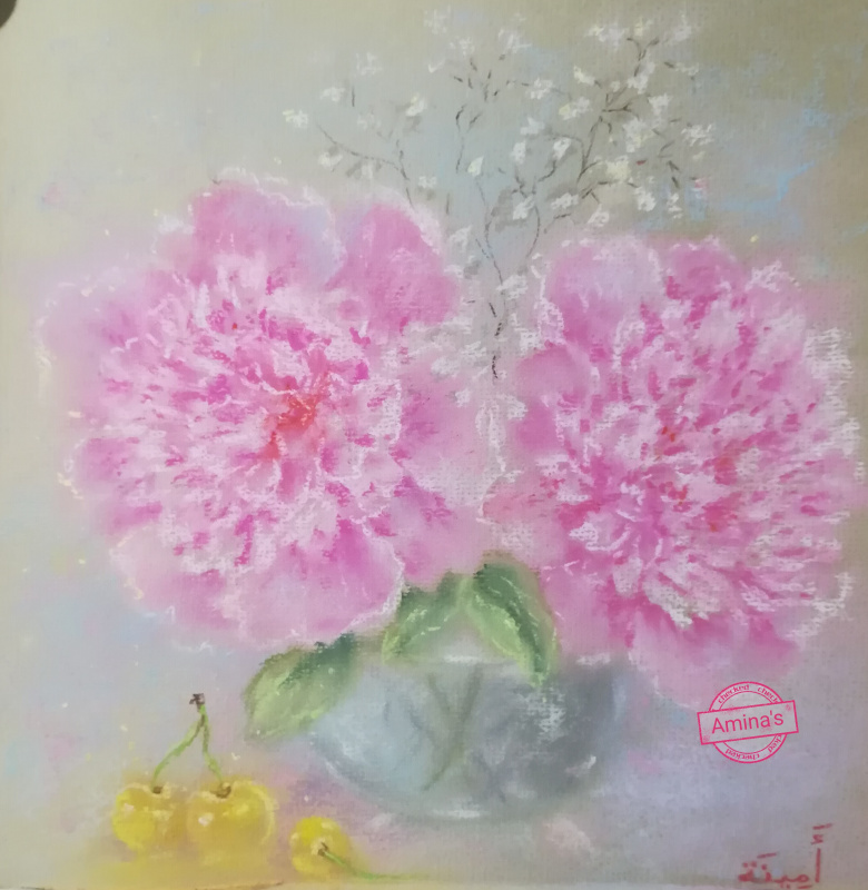 Amina. Author's picture by dry pastel. Gentle still life with peonies and sweet cherry