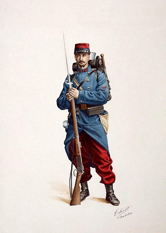 Французский солдат с ружьем