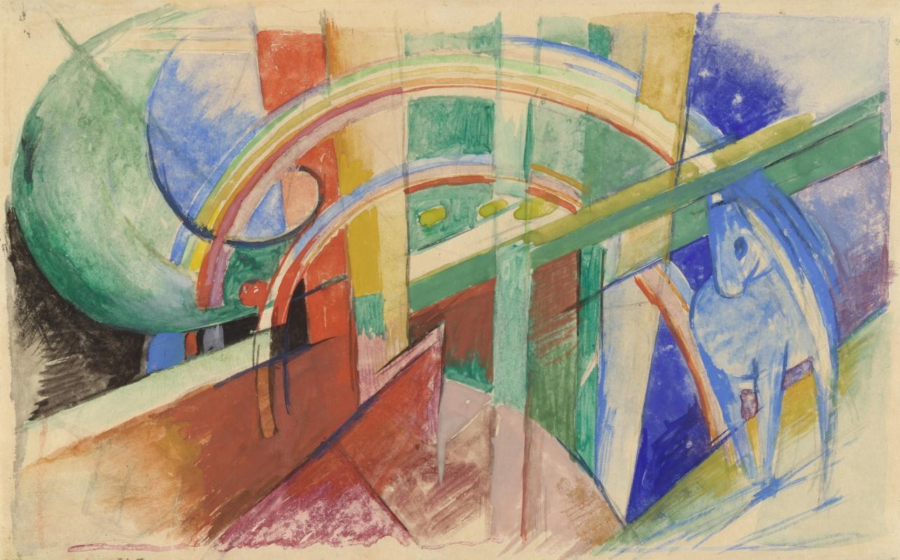 Franz Marc. Blue horse and a rainbow