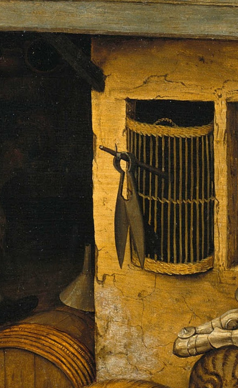 Pieter Bruegel The Elder. Flemish proverbs. Fragment: scissors posted - you are deceived here
