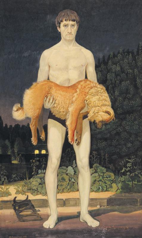 Дмитрий Дмитриевич Жилинский. Человек с убитой собакой. (авторское повторение работы 1976 года)