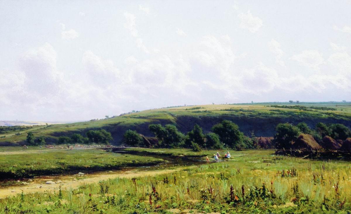 """Joseph Evstafievich Krachkovsky. The Smedov River in the estate of D. V. Grigorovich """"Dulebovo"""". 64 x 103 State Tretyakov Gallery, Moscow."""