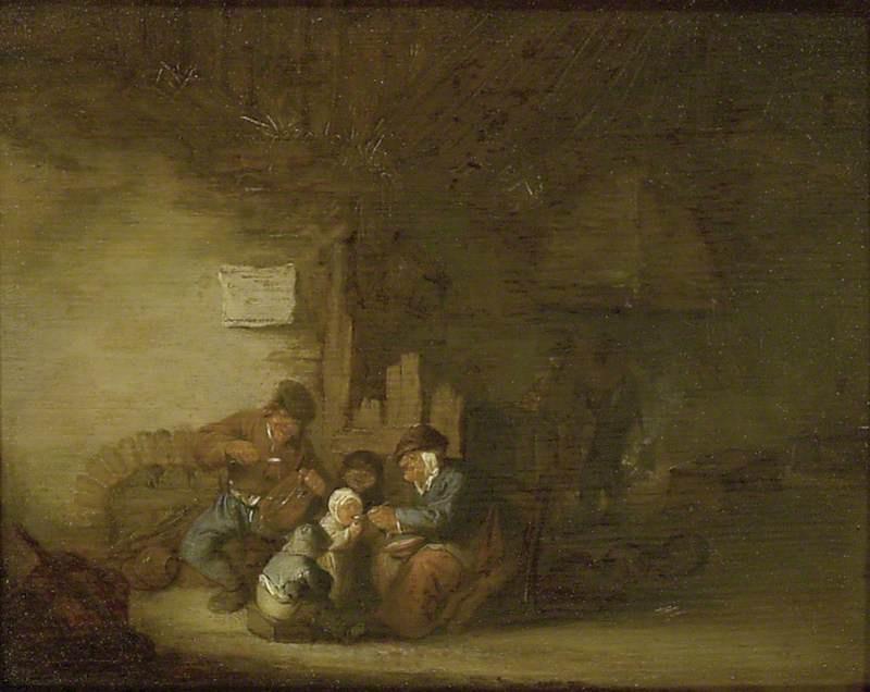 Adrian Jans van Ostade. Dinner farmers