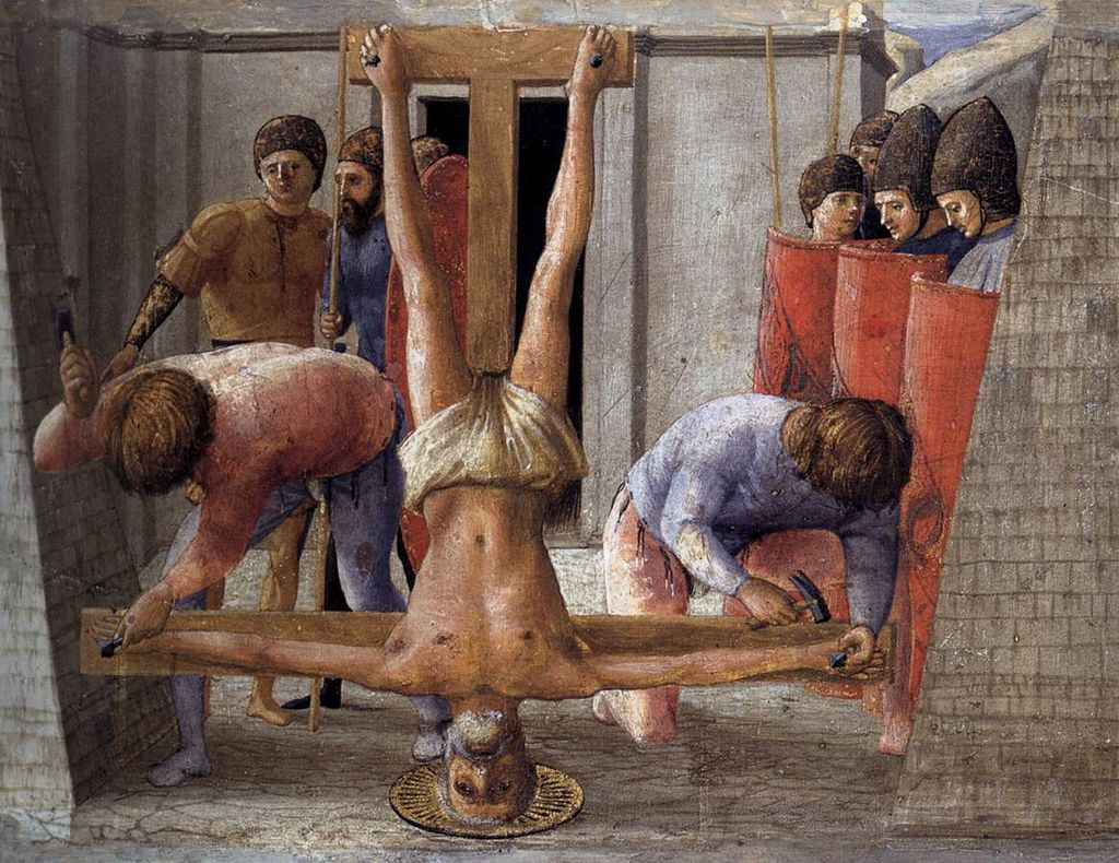 Tommaso Masaccio. Crucifixion of St. Peter. Pizansky polyptych