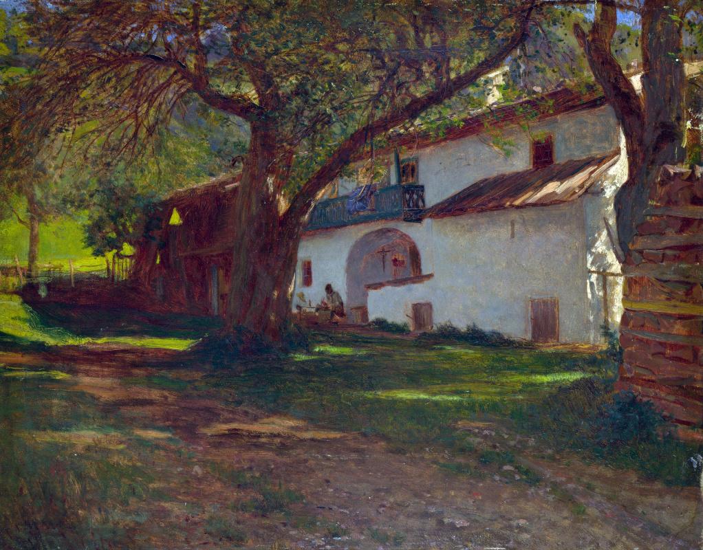 Голландский. Белый дом среди деревьев