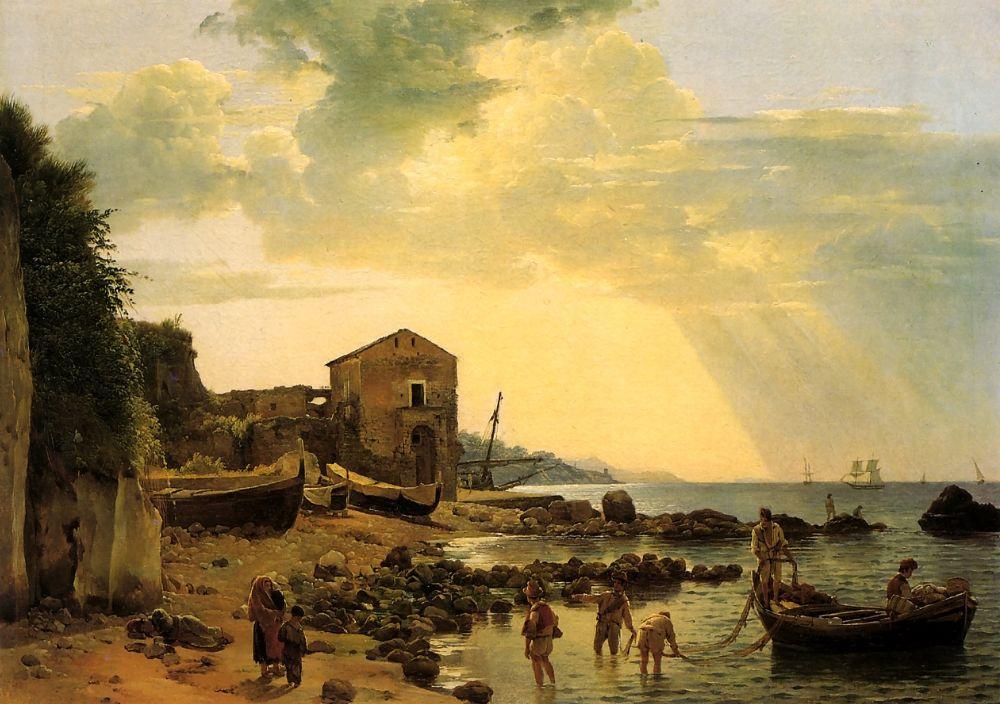 Семен Федорович Щедрин. Берег в Сорренто с видом на остров Капри