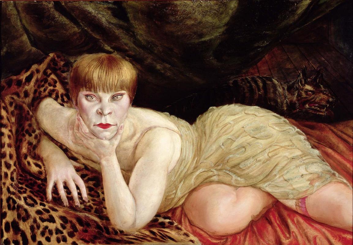 Отто Дикс. Женщина, лежащая на леопардовой шкуре