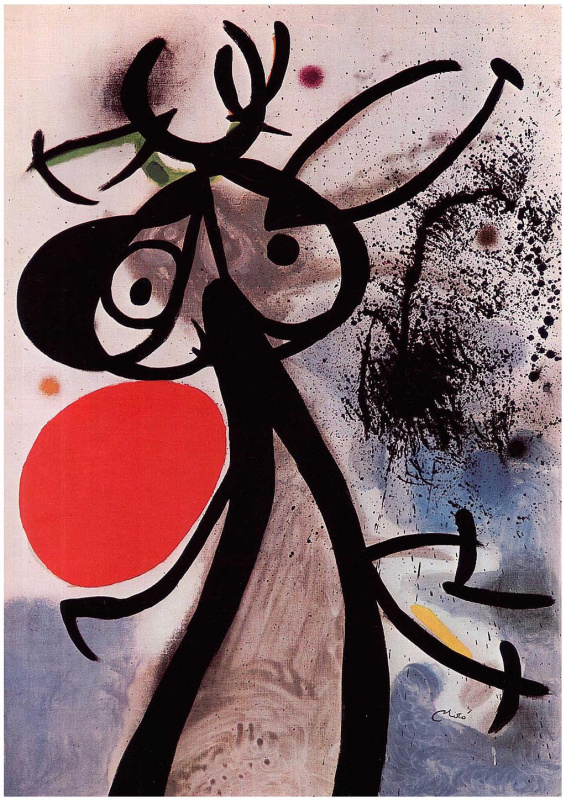 Joan Miro. A woman and a bird against the sun