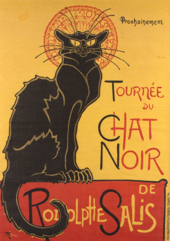 """Theophile-Alexander Steinlen. Promotional poster of """"the Black cat"""""""