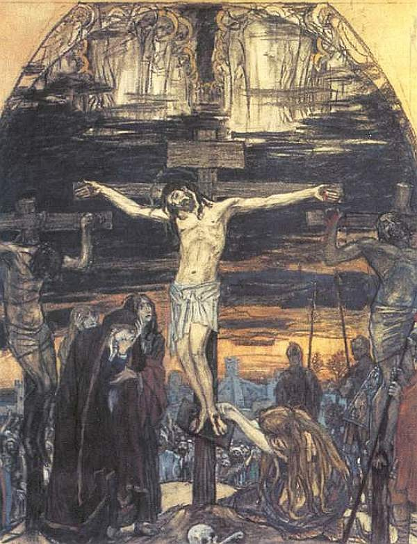 Victor Mikhailovich Vasnetsov. Crucifixion Sketch of mosaic for St. George Church in Gus-Khrustalny