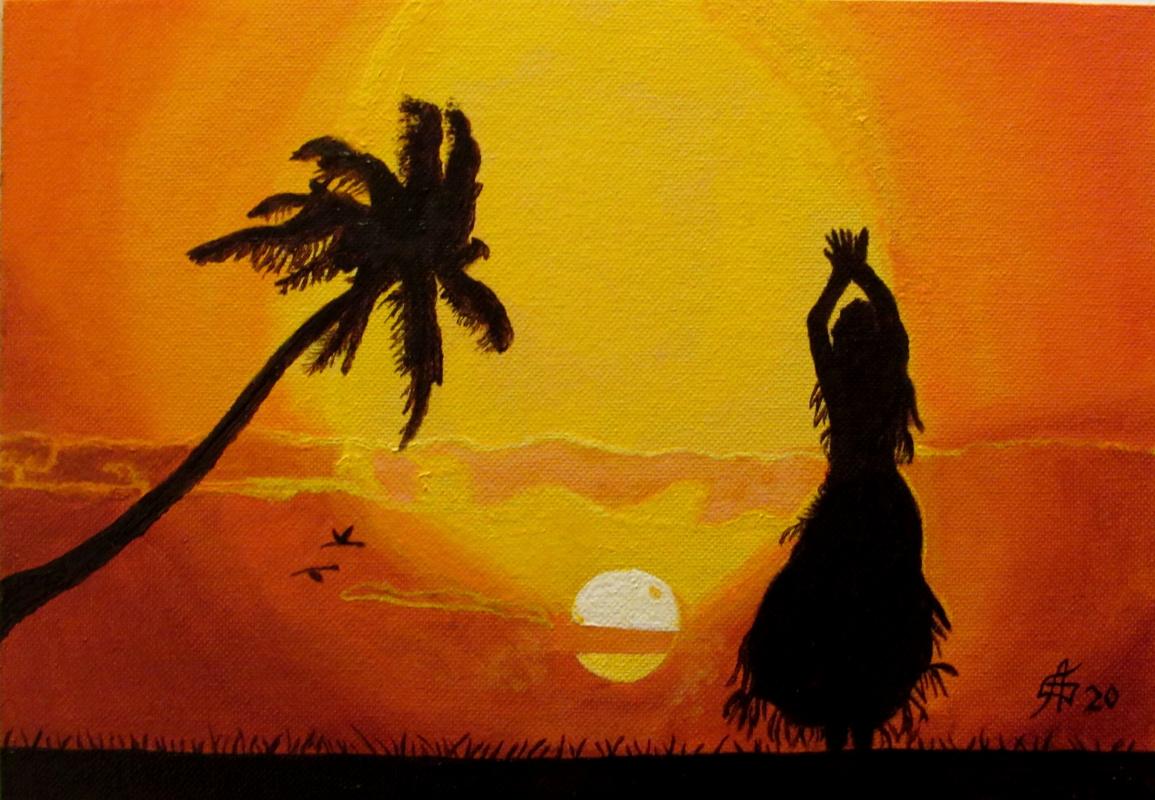 Artashes Badalyan. Hawaiian dance - x-hardboard-m - 21x30