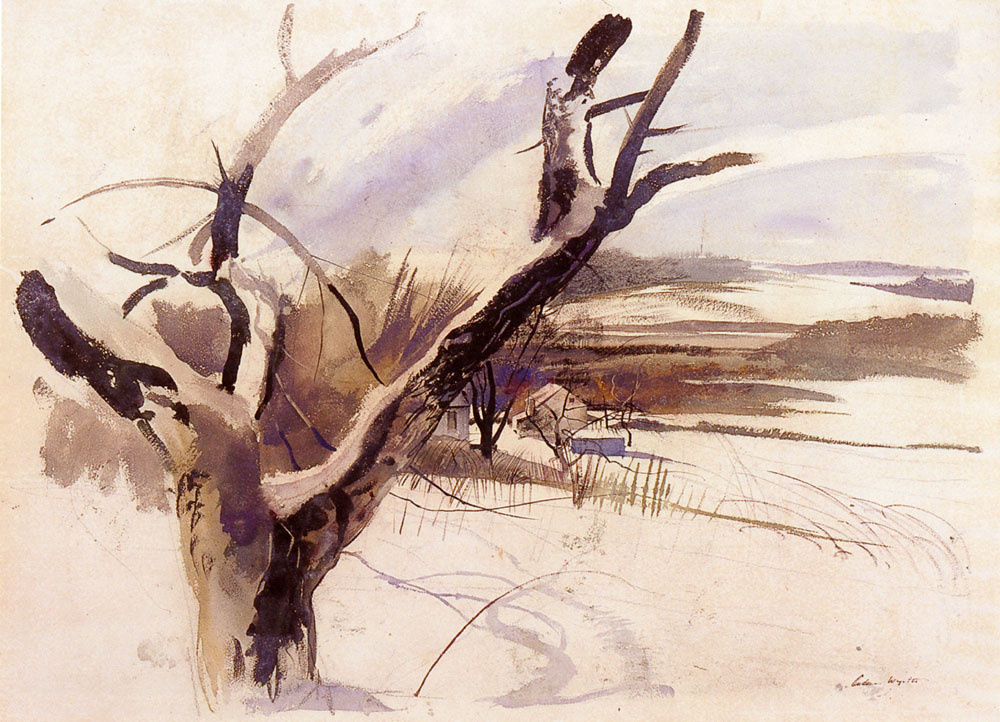 Andrew Wyeth. Farm in winter