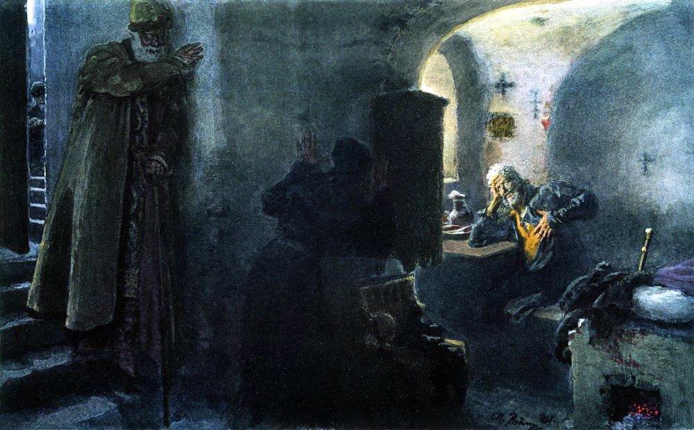 Ilya Efimovich Repin. Monk Filaret imprisoned in the Antonievo - Siysky monastery