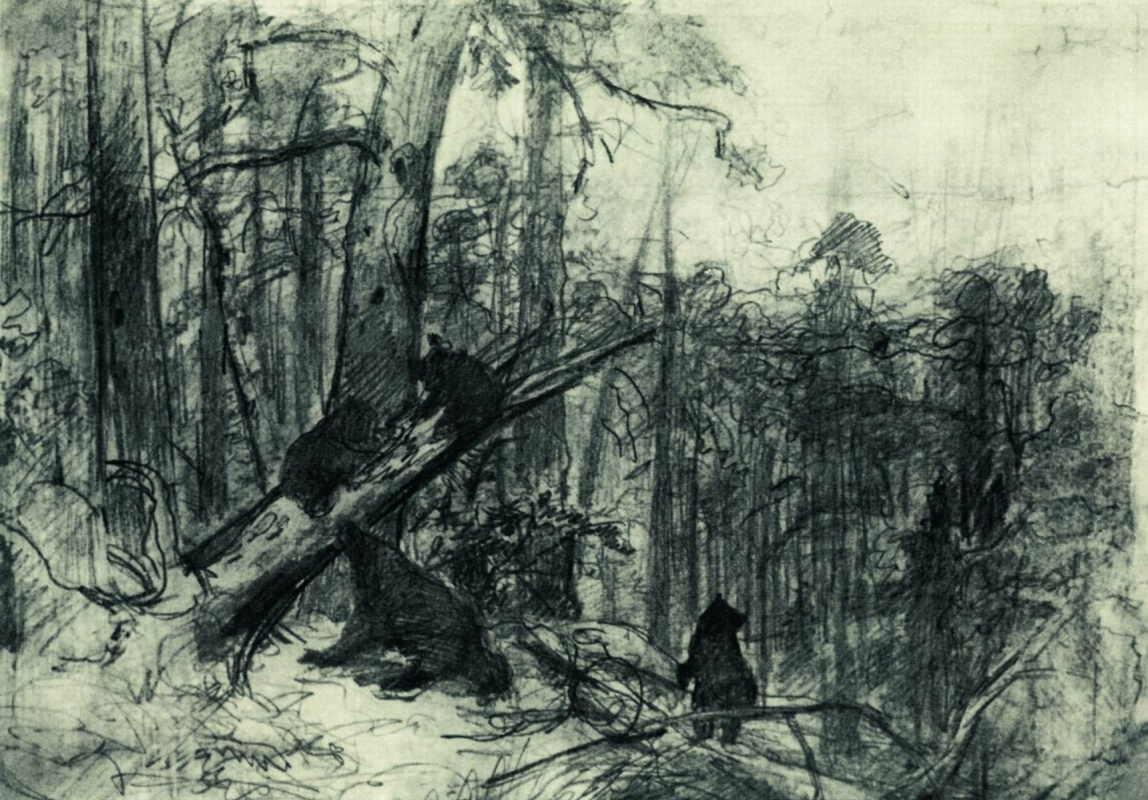 Ivan Shishkin. Morning in a pine forest. Sketch