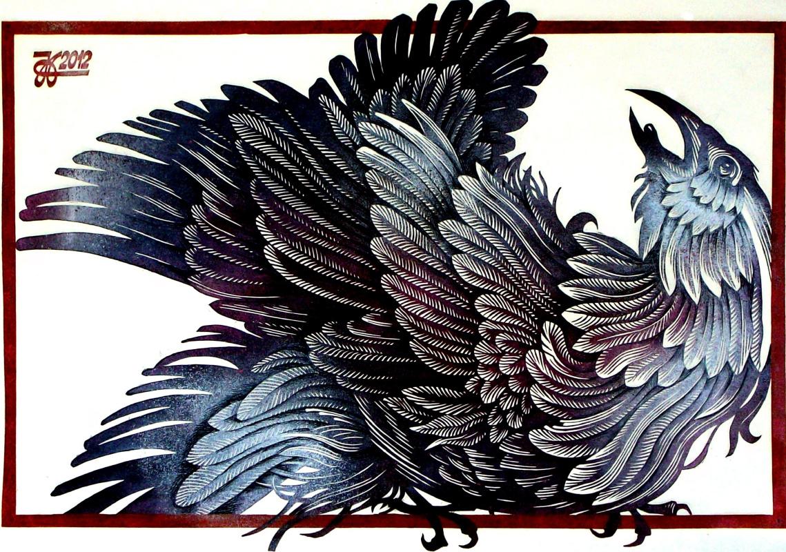"Vladimir Kataev. ""The bird is unhappy,"" linocut, 45Х64 , 2012"