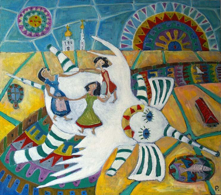 Svyatoslav Ryabkin. Girls on an elephant dance Girls on a strong white-winged elephant round dance
