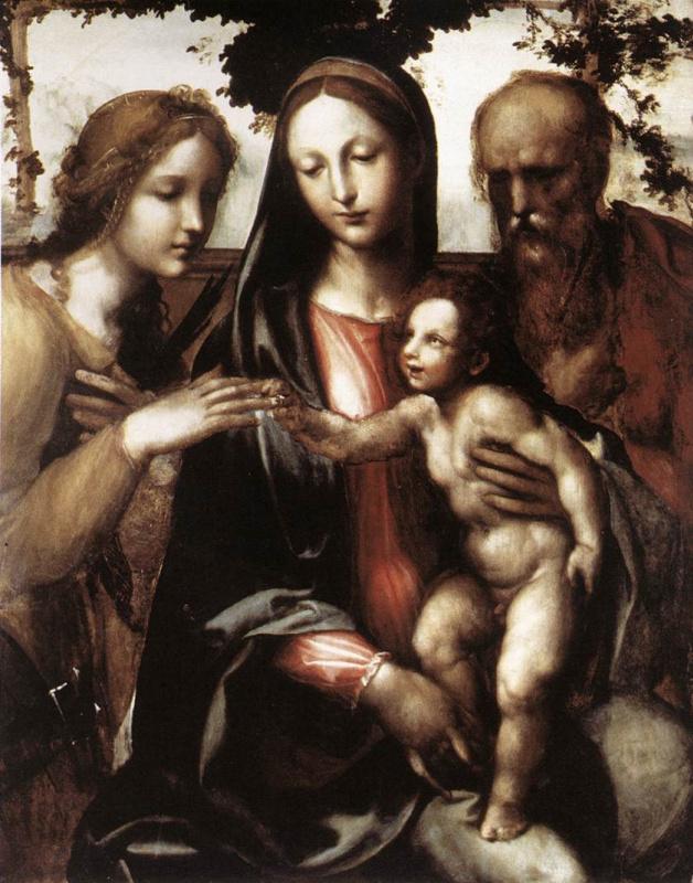 Джованни Антонио Бацци (Содома). Мистическое обручение святой Екатерины