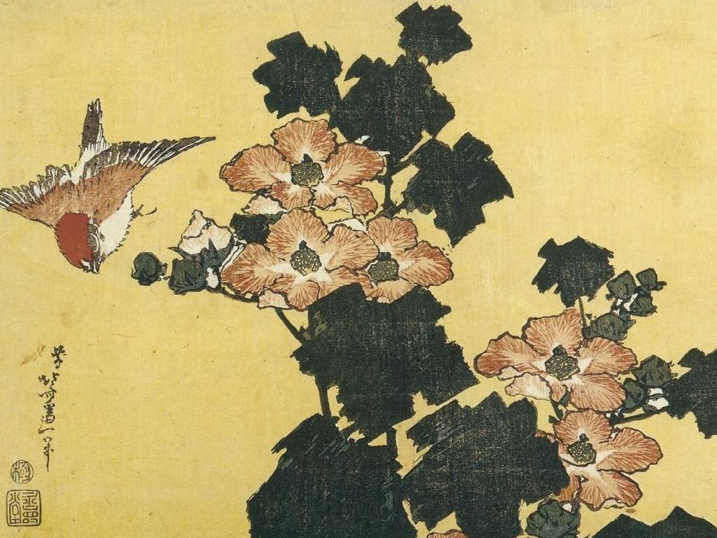 Katsushika Hokusai. Hibiscus and sparrow