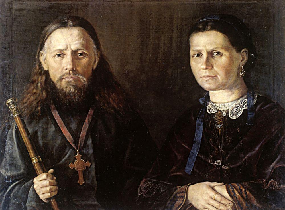 Иван Иванович Люхин. Портрет священника с женой