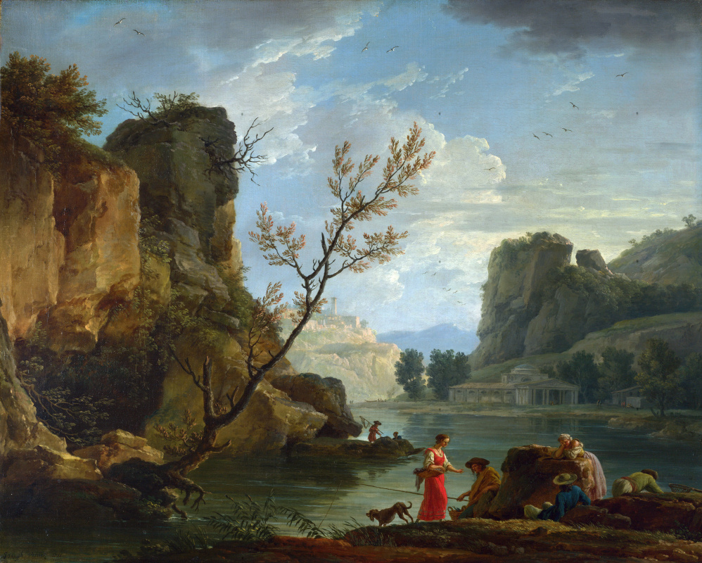 Клод Жозеф Верне. Река с рыбаками